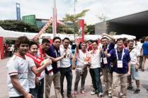 SISO volunteers with Myanmar football fans